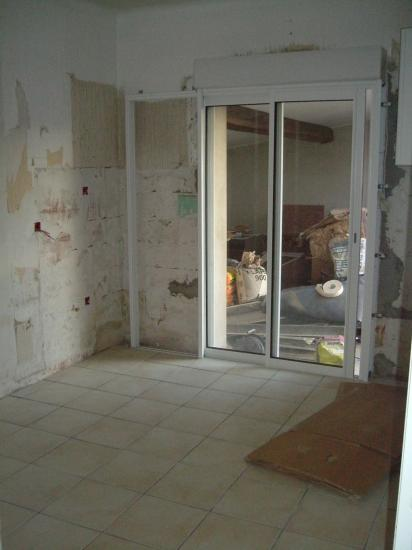 Porte fenêtre à galandage posée aprés ouverture